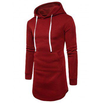 Side Zip Curve Bottom Fleece Longline Hoodie - RED M