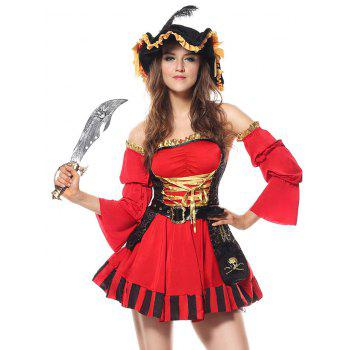 Ruffled Pirate Cosplay Costume - RED RED