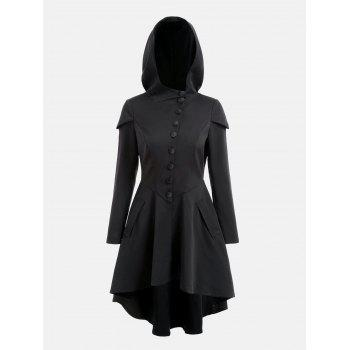 Layered Lace Up High Low Hooded Coat - BLACK M