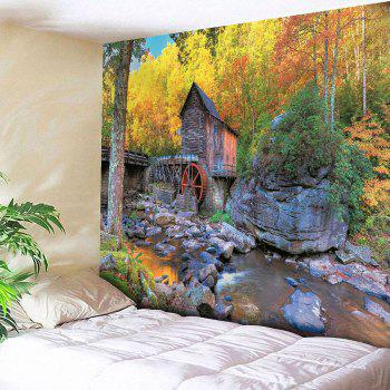 Waterproof Wooden House and Forest Pattern Wall Hanging Tapestry - COLORMIX COLORMIX