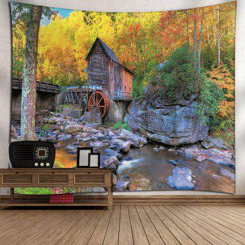 Waterproof Wooden House and Forest Pattern Wall Hanging Tapestry - COLORMIX W59 INCH * L51 INCH