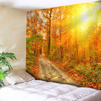 Waterproof Sunlight Maple Grove Pathway Printed Tapestry - YELLOW YELLOW