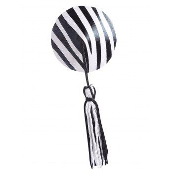 Striped Tassel Nipple Cover - BLACK ONE SIZE