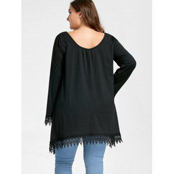 Plus Size Lace Panel Asymmetrical Scoop Neck Tee - BLACK 3XL