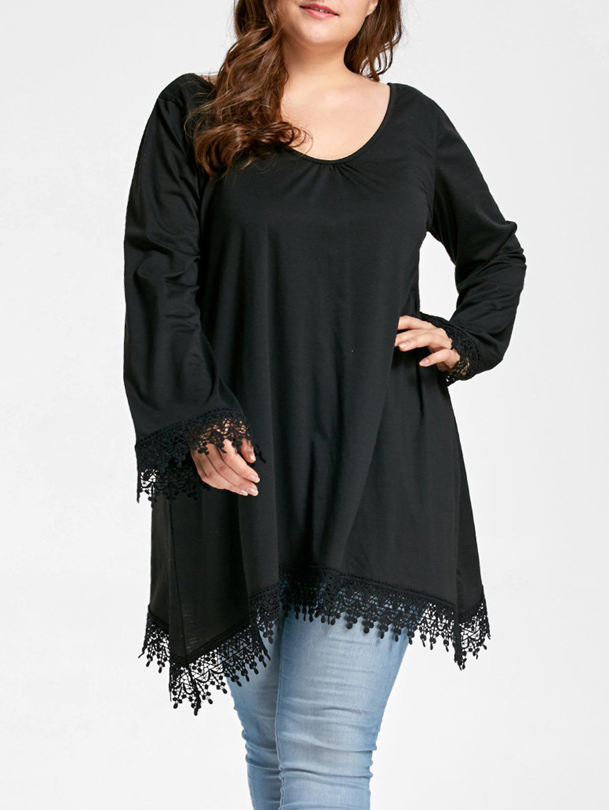 Plus Size Lace Panel Asymmetrical Scoop Neck Tee - BLACK 4XL