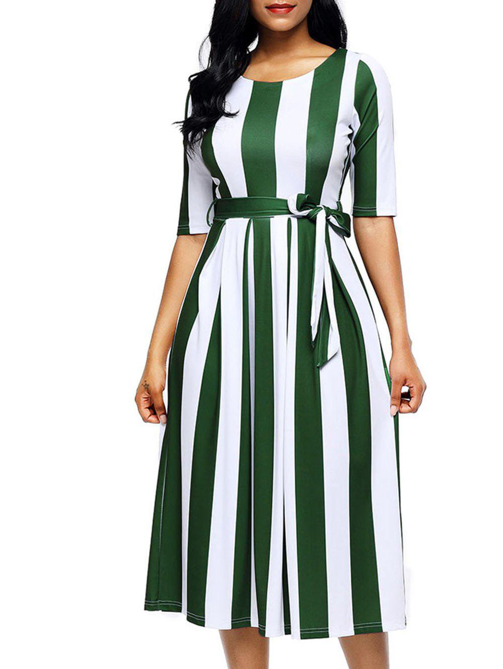 Half Sleeve Striped Midi Dress - GREEN S
