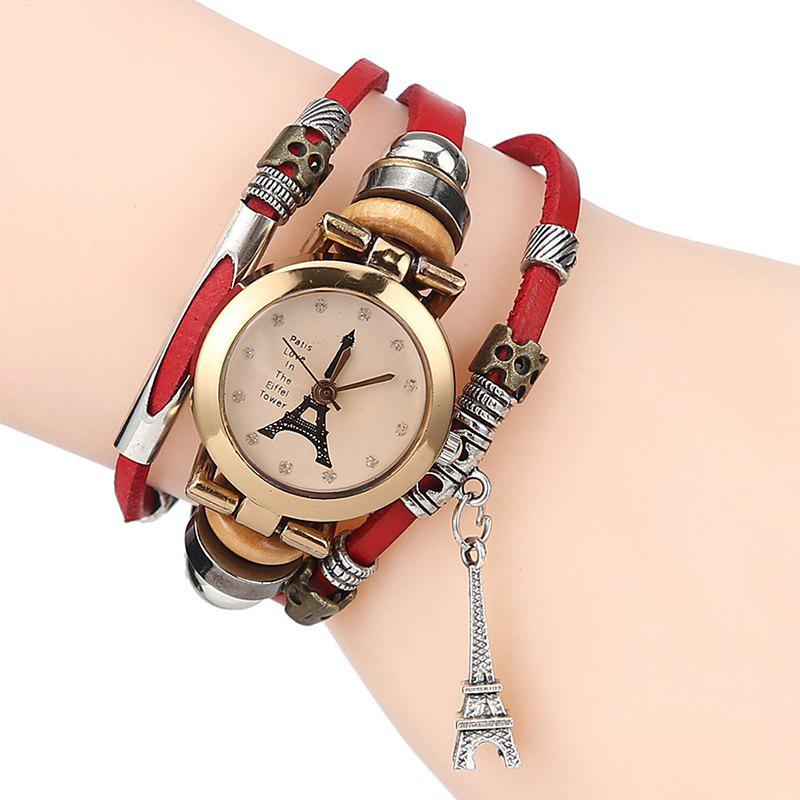Effiel Tower Charm  Layered Bracelet Watch - RED