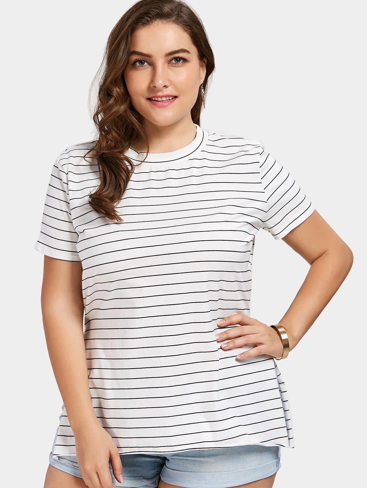 Plus Size Striped Side Slit T-shirt моторное масло mobil 1 5w 50 1 л синтетическое