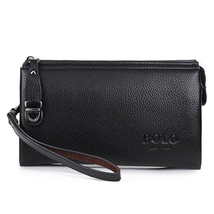 Metal Embellished Wristlet Clutch Bag - BLACK