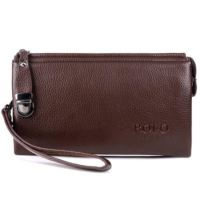 Metal Embellished Wristlet Clutch Bag - BROWN