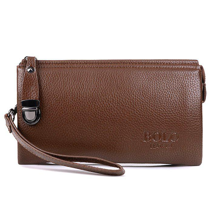 Metal Embellished Wristlet Clutch Bag - LIGHT BROWN