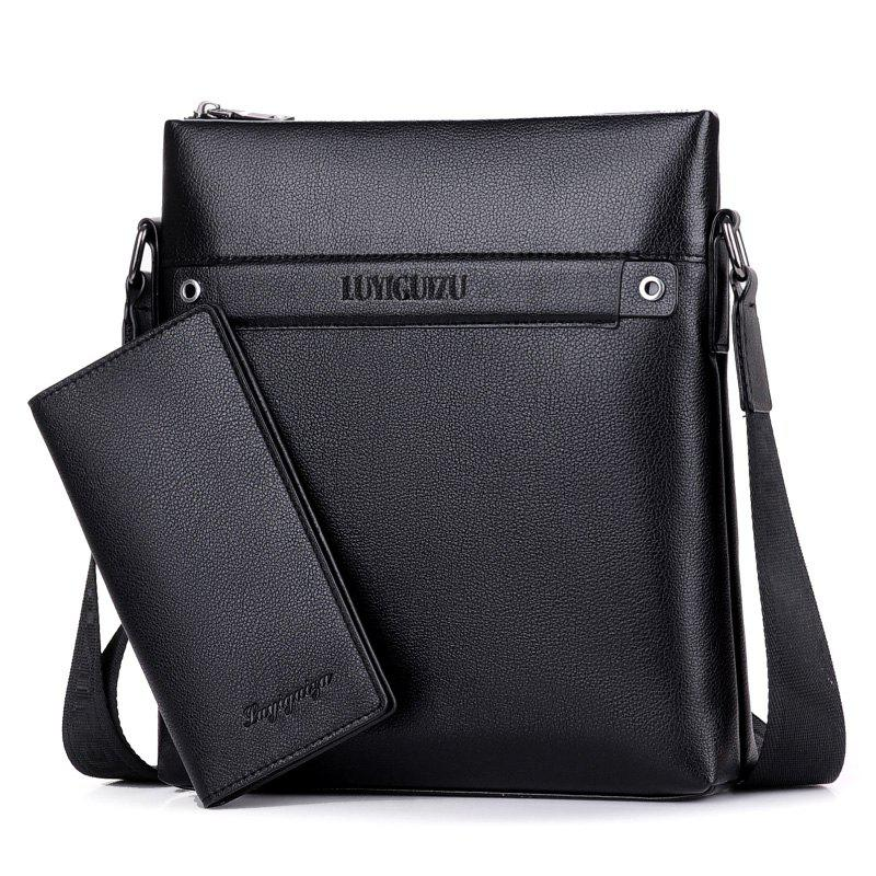 Faux Leather Zipper Messenger Bag - BLACK