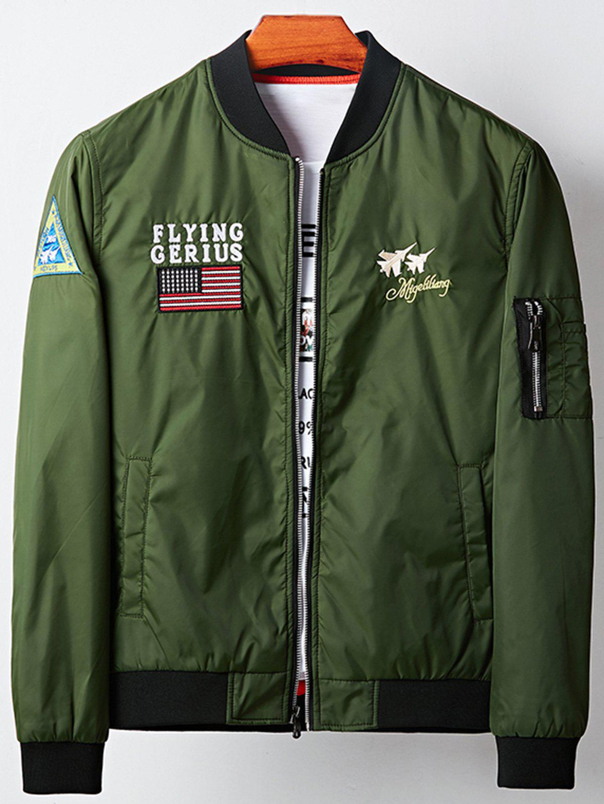 Applique Graphic Aircraft Embroidered Bomber Jacket