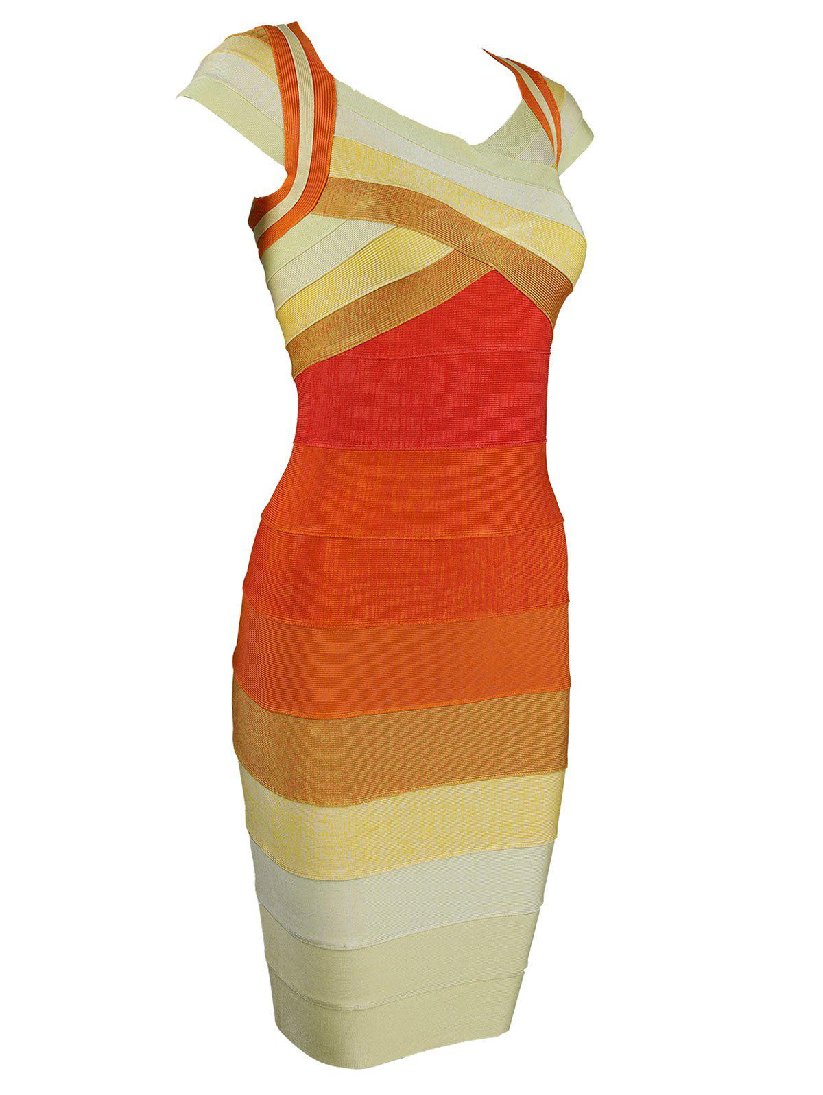 Color Block Cap Sleeve Bandage Dress - ORANGE L