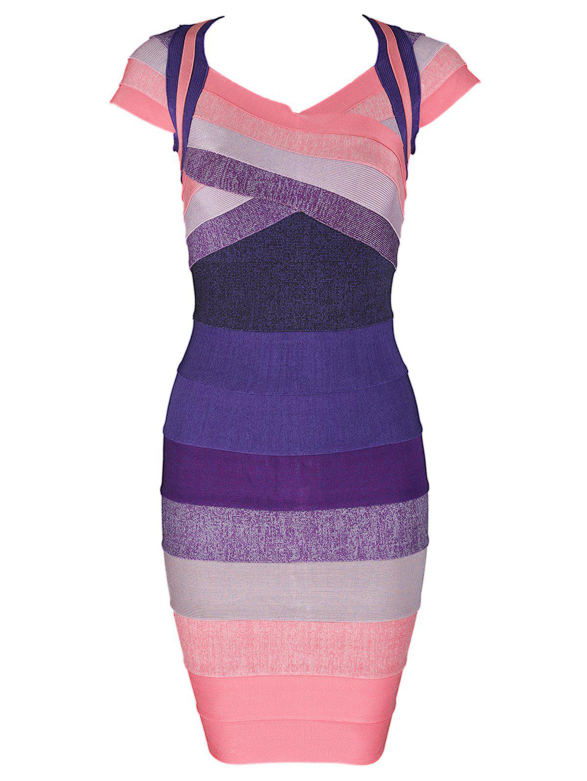Color Block Cap Sleeve Bandage Dress - PURPLE XL