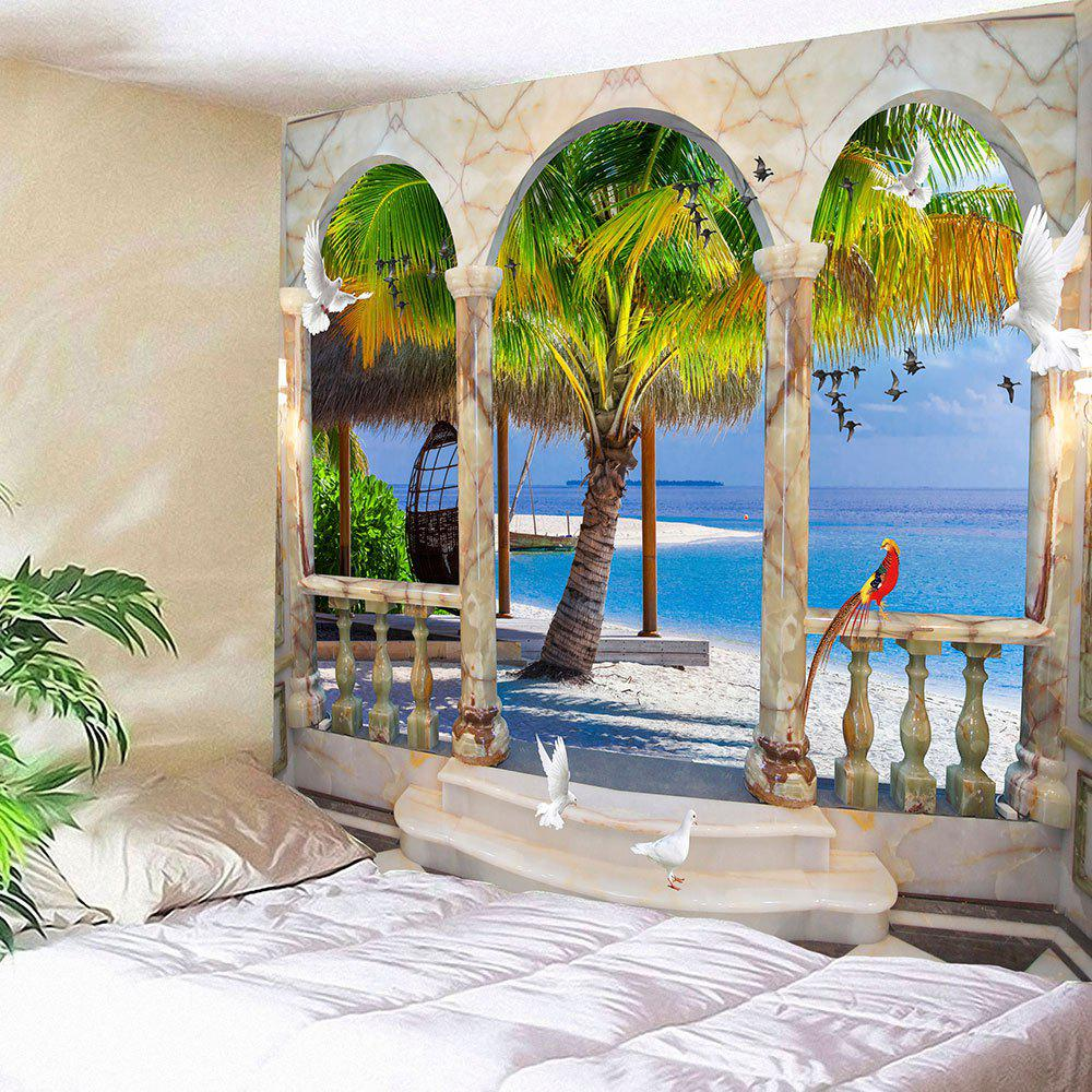 Window Birds Coconut Tree Seaside Wall Waterproof Tapestry - BLUE W59 INCH * L59 INCH