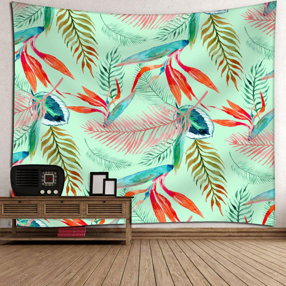 Palm Leaves Printed Wall Decor Tapestry - GREEN W91 INCH * L71 INCH