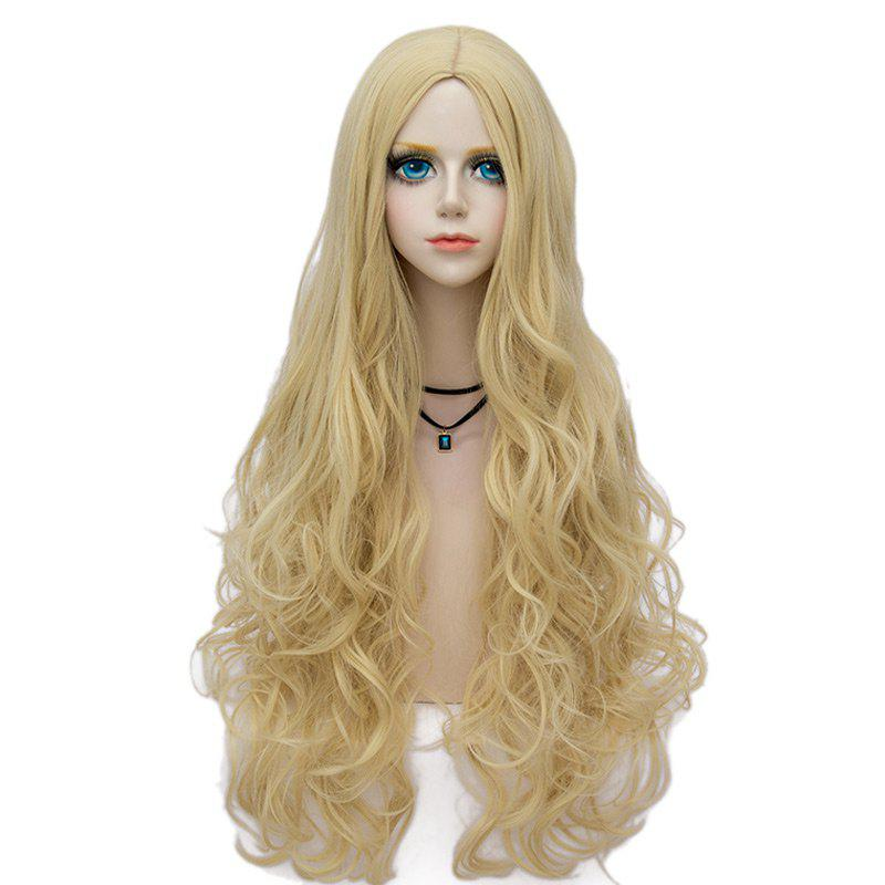 Long Middle Part Fluffy Wavy Halloween Party Synthetic Wig - LIGHT GOLD