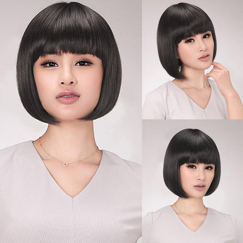 Synthetic Neat Bang Straight Short Bob Wig trendy bob straight short natural black neat bang heat resistant synthetic capless wig for women