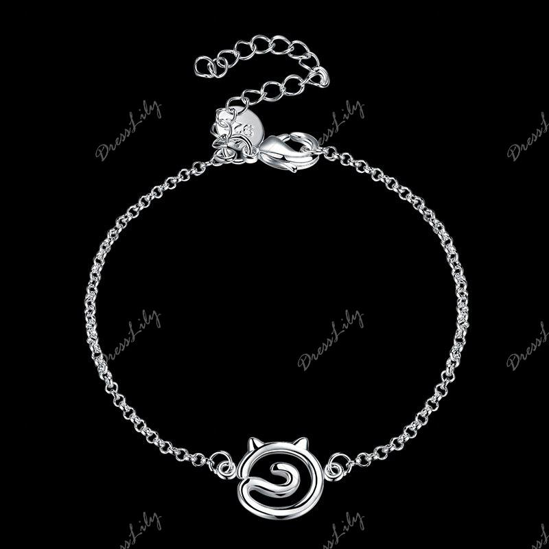 Bracelet simple en alliage de chat creux - Argent