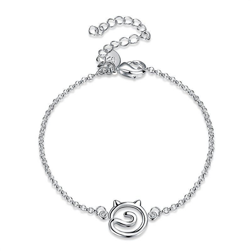 Simple Hollow Out Cat Alloy Bracelet - SILVER