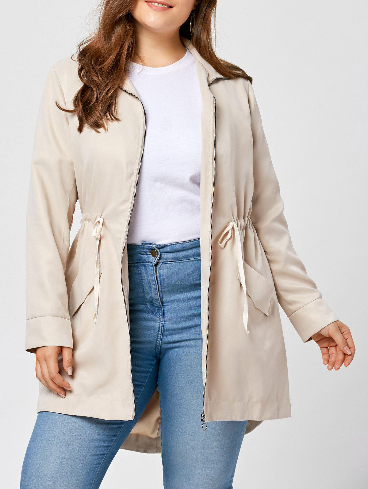 Plus Size Zip Up High Low Coat - APRICOT XL