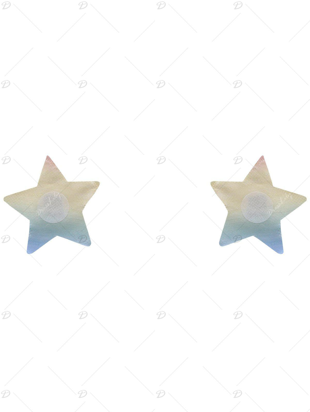 Glitter Star Adhesive Nipple Sticker - COLORMIX ONE SIZE