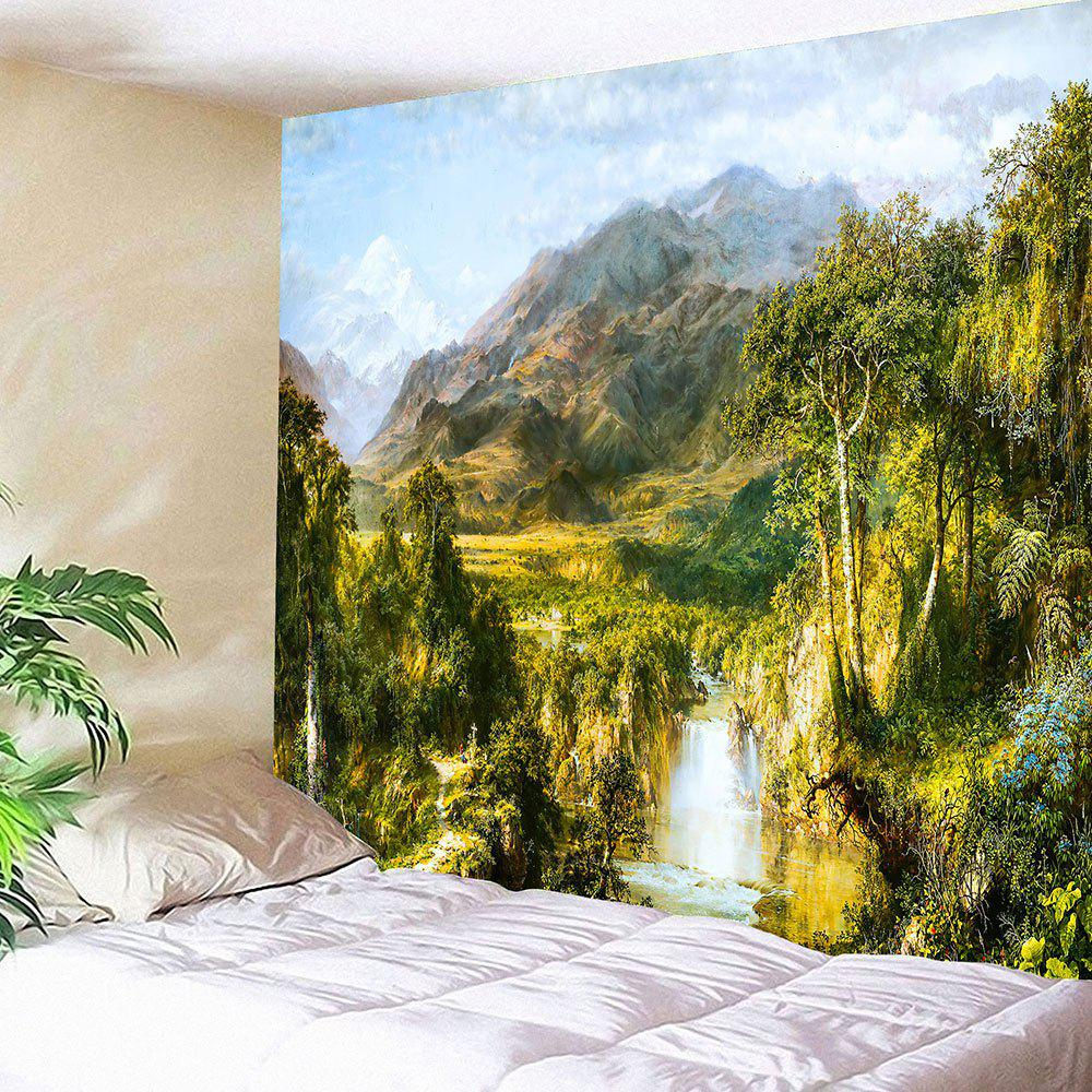 Waterproof Foggy Mountains River Printed Hanging Tapestry - GREEN W79 INCH * L71 INCH