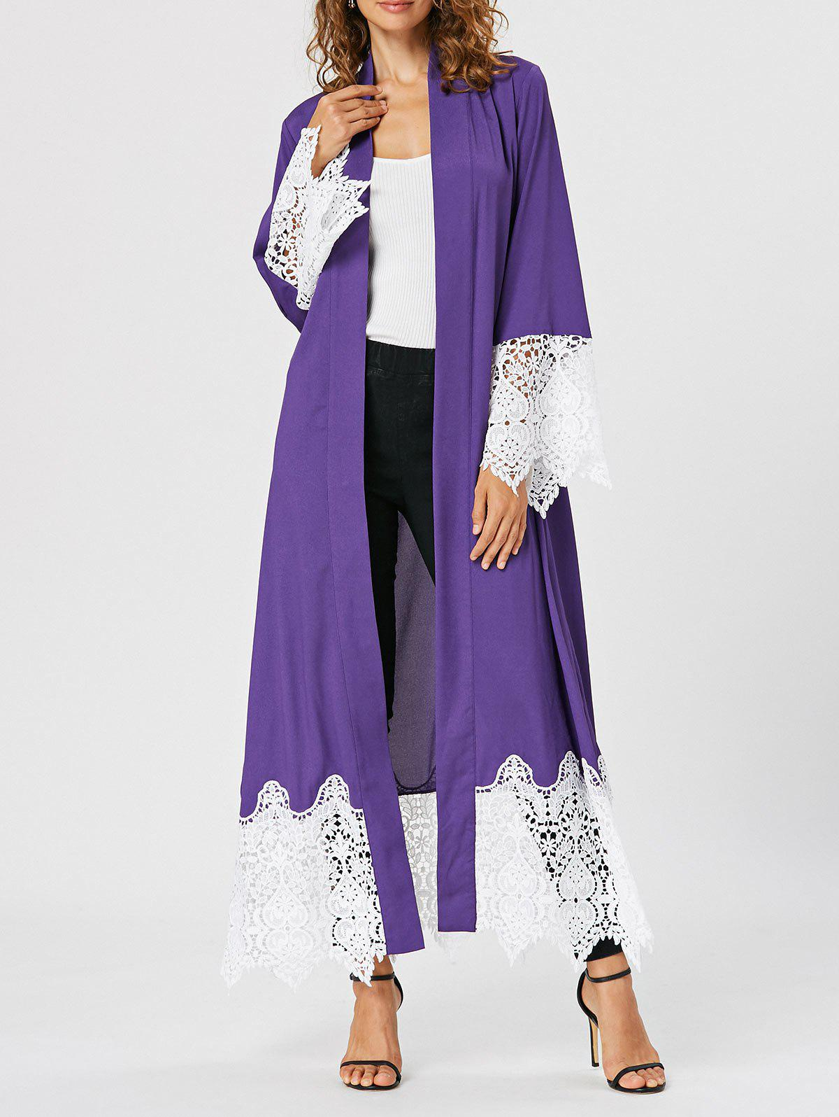 2018 Open Front Lace Insert Maxi Cardigan PURPLE M In Sweaters ...