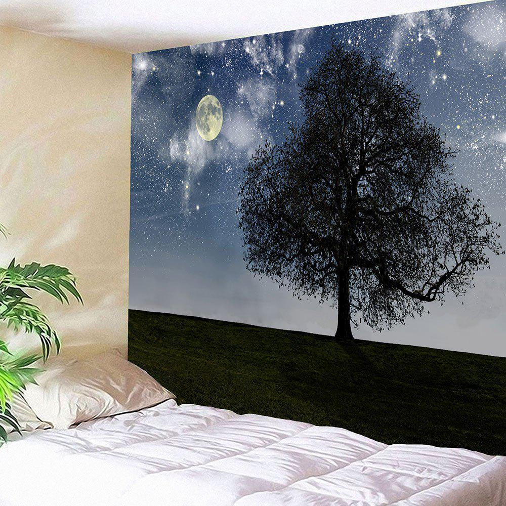 Big Tree Under Starry Sky Printed Wall Art Hanging Tapestry - GRAY W59 INCH * L51 INCH