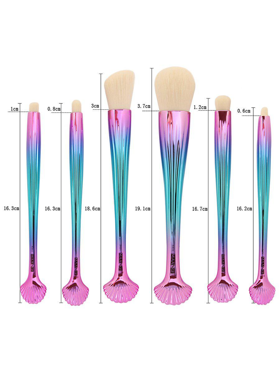 6Pcs Tiny Shell Handle Facial Plating Makeup Brushes - LIGHT PINK