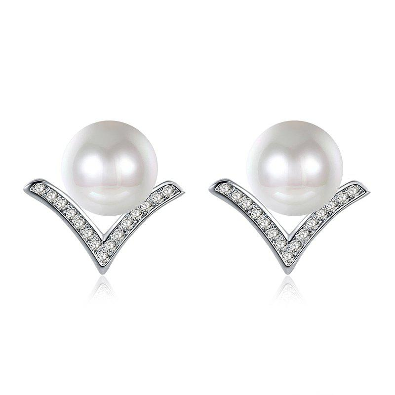 Rhinestone Tiny Faux Pearl Stud Earrings faux pearl round stud earrings