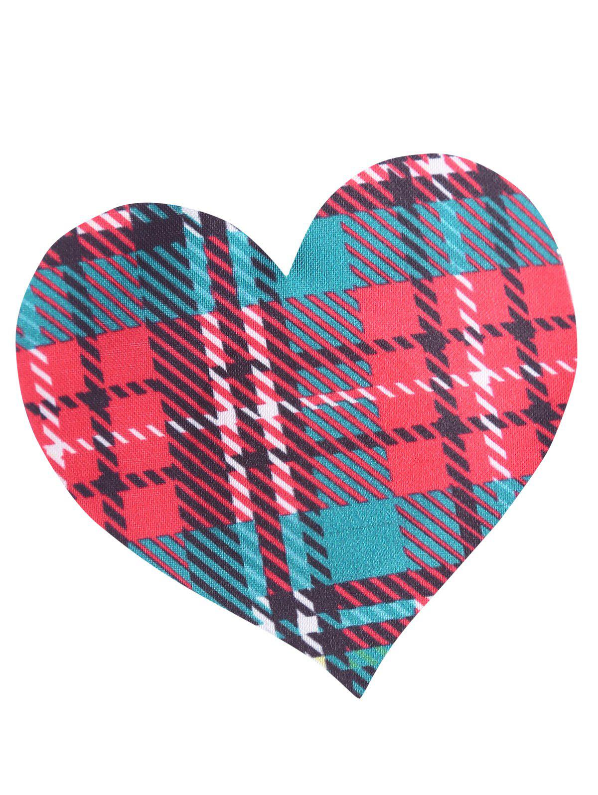 Plaid Heart Adhesive Nipple Sticker - CHECKED ONE SIZE