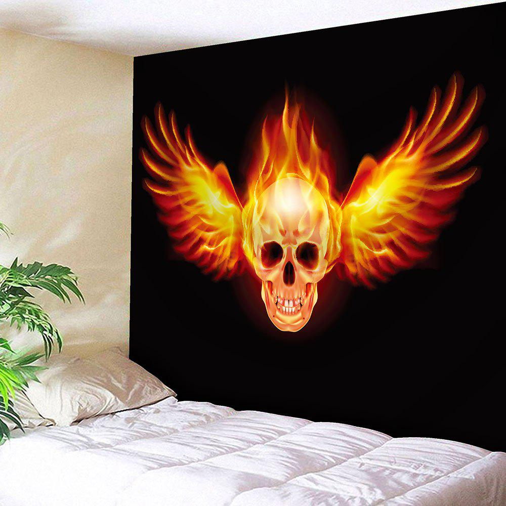 Waterproof Fire Skull Wing Pattern Wall Hanging Tapestry - YELLOW/BLACK W59 INCH * L59 INCH