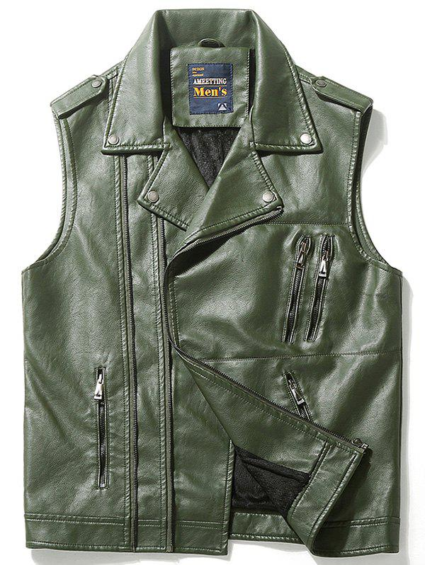 Epaulet Design Asymmetrical Zip Faux Leather Vest - GREEN L