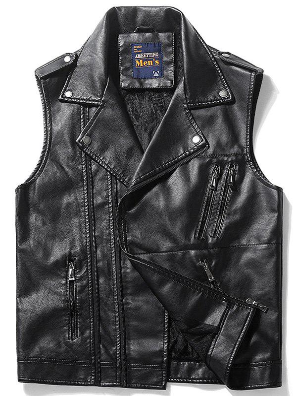Epaulet Design Asymmetrical Zip Faux Leather Vest - Noir 3XL