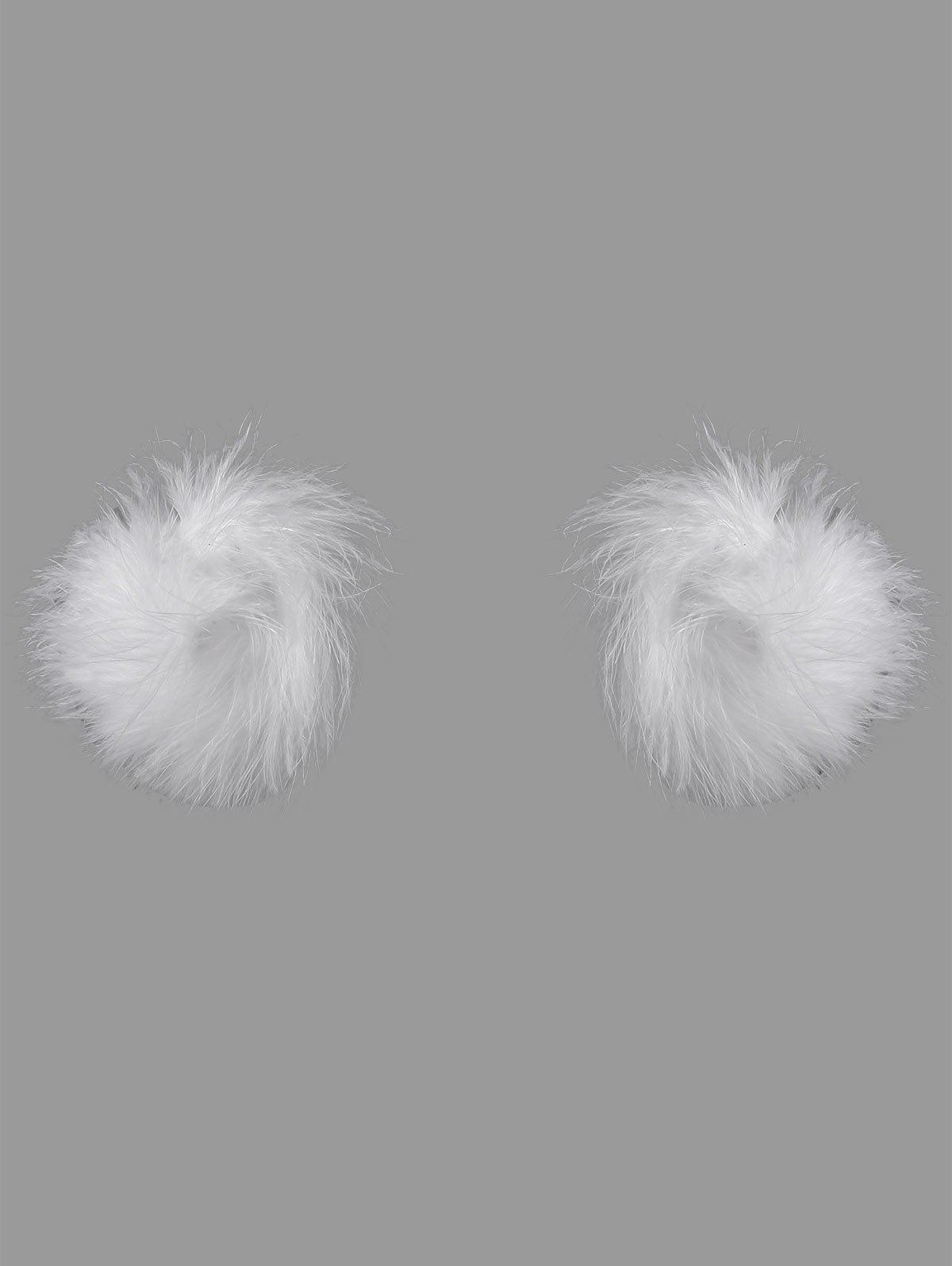 Faux Ostrich Feather Fur Nipple Covers - Blanc ONE SIZE