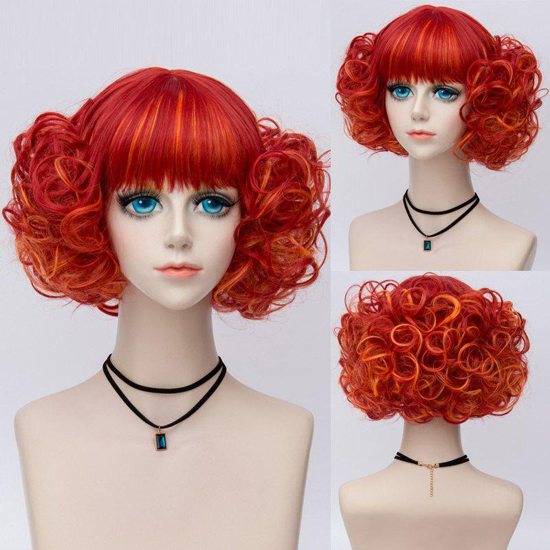 Short Neat Bang Fluffy Curly Highlight Synthetic Party Wig - RED