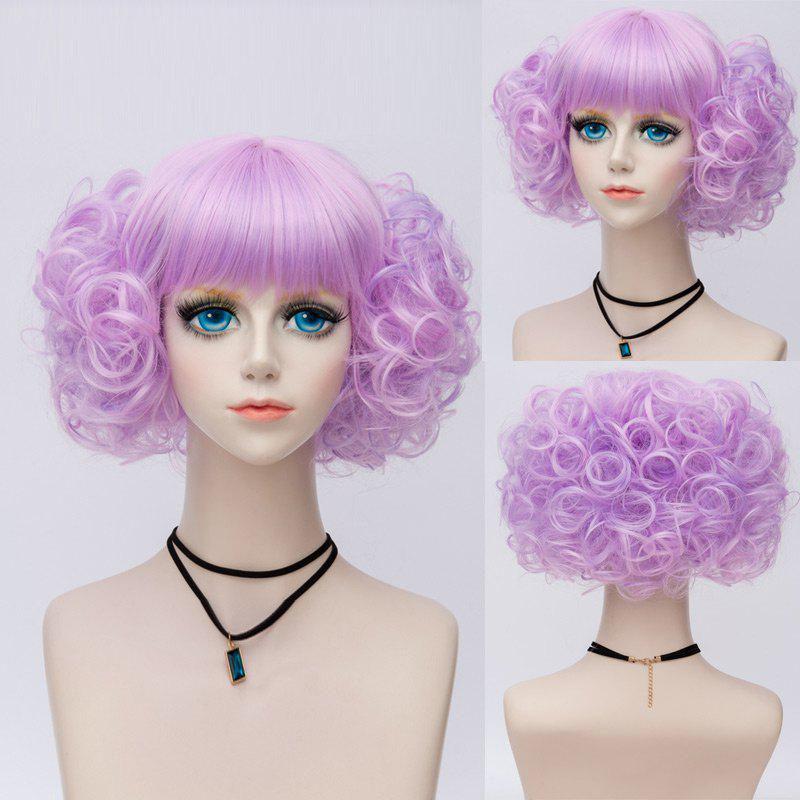 Short Neat Bang Fluffy Curly Highlight Synthetic Party Wig - PURPLE