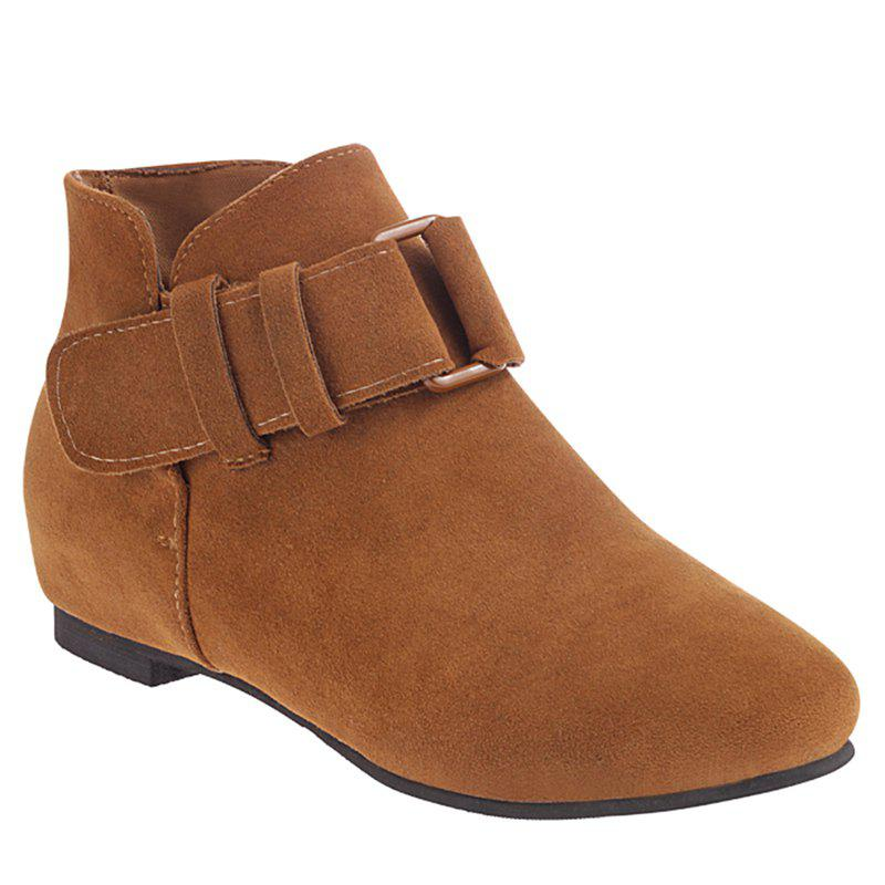 Round Toe Buckle Straps Ankle Boots - BROWN 39