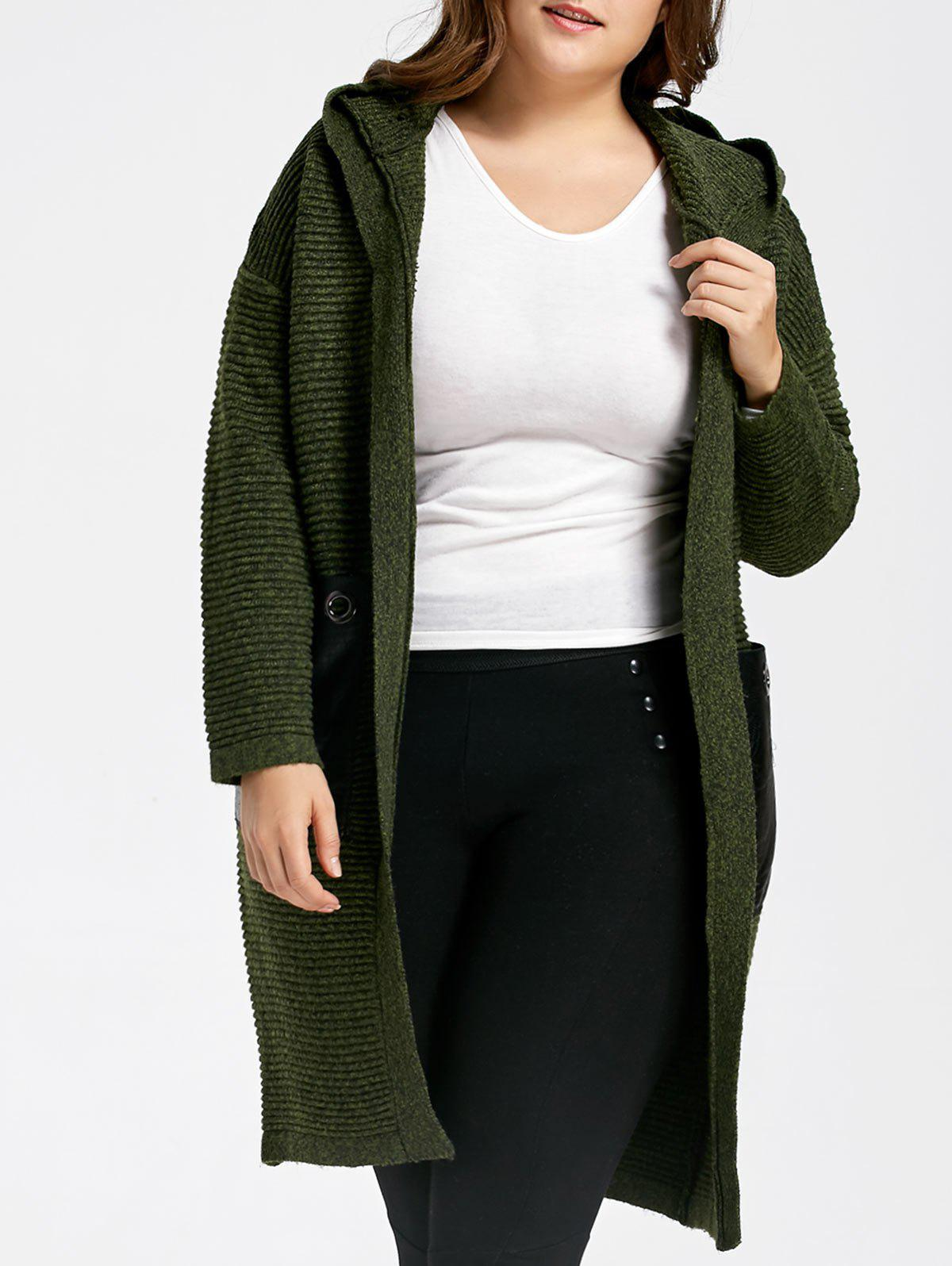 Plus Size Chunky Pocket Long Hooded Sweater Coat, GREEN, ONE SIZE ...