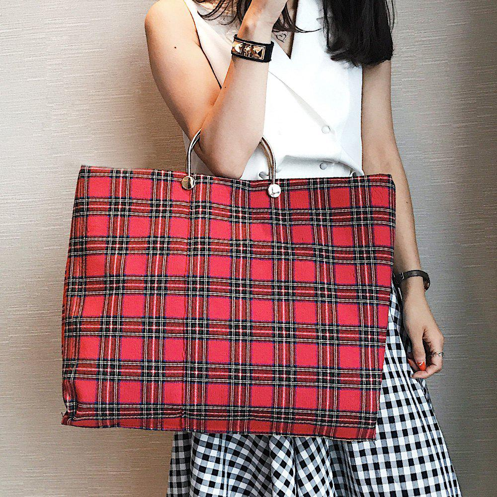 Canvas Tartan Color Block Handbag - Rouge
