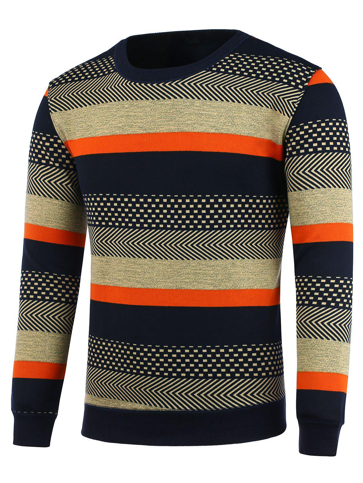 Crew Neck Flocking Tribal Stripe Sweater - COLORMIX 3XL