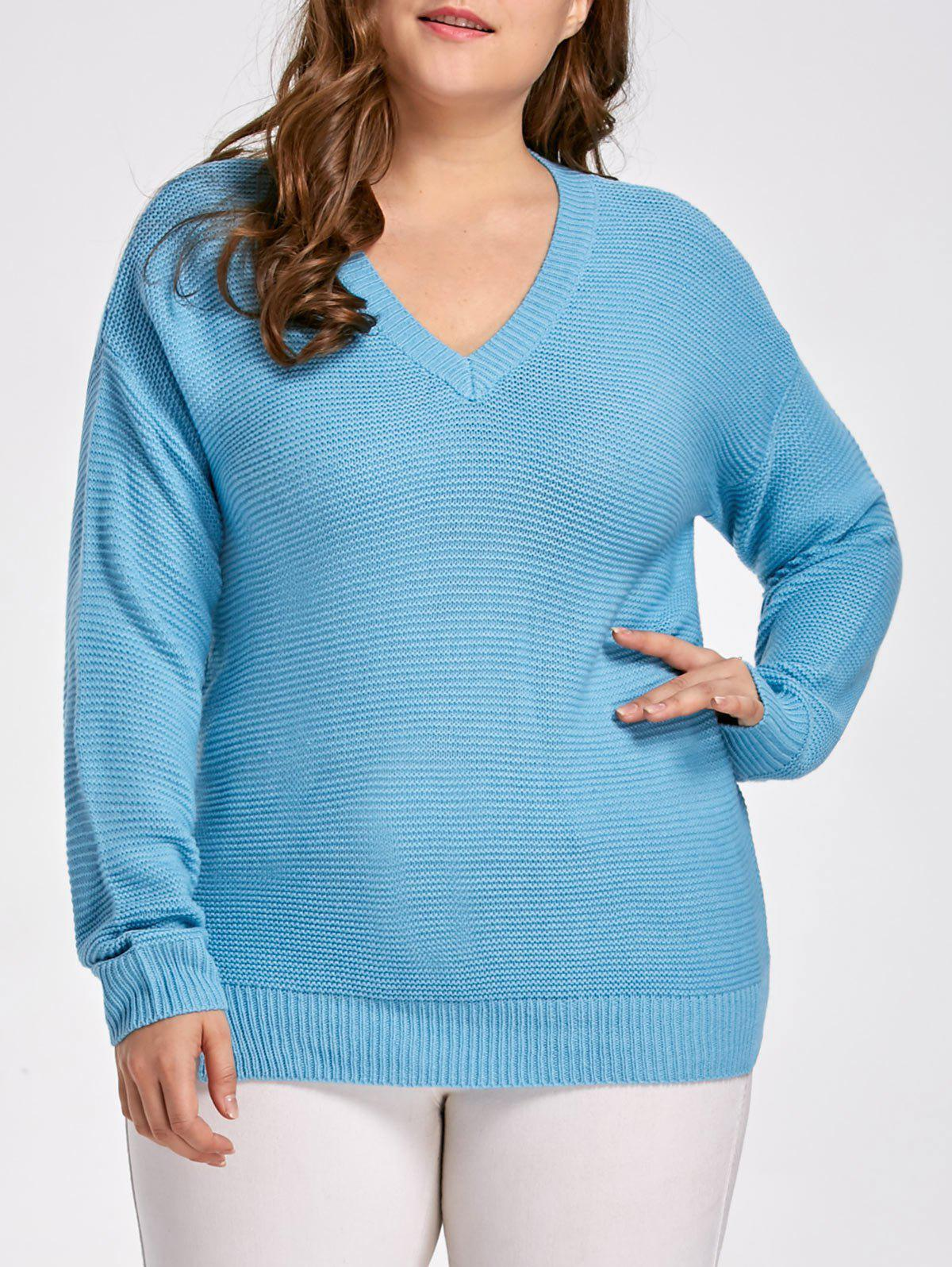 Plus Size Side Slit Boyfriend Sweater, LAKE BLUE, XL in Plus Size ...
