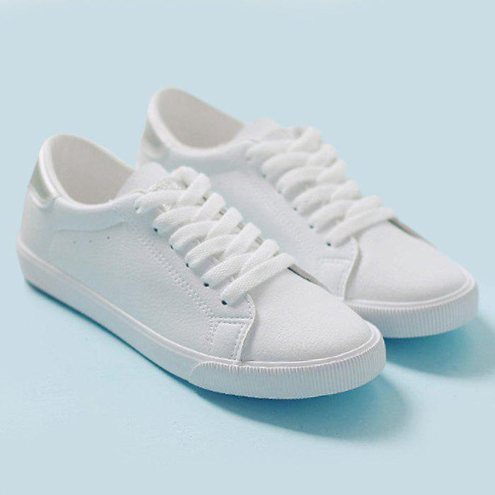 Faux Leather Color Block Sneakers - SILVER 38