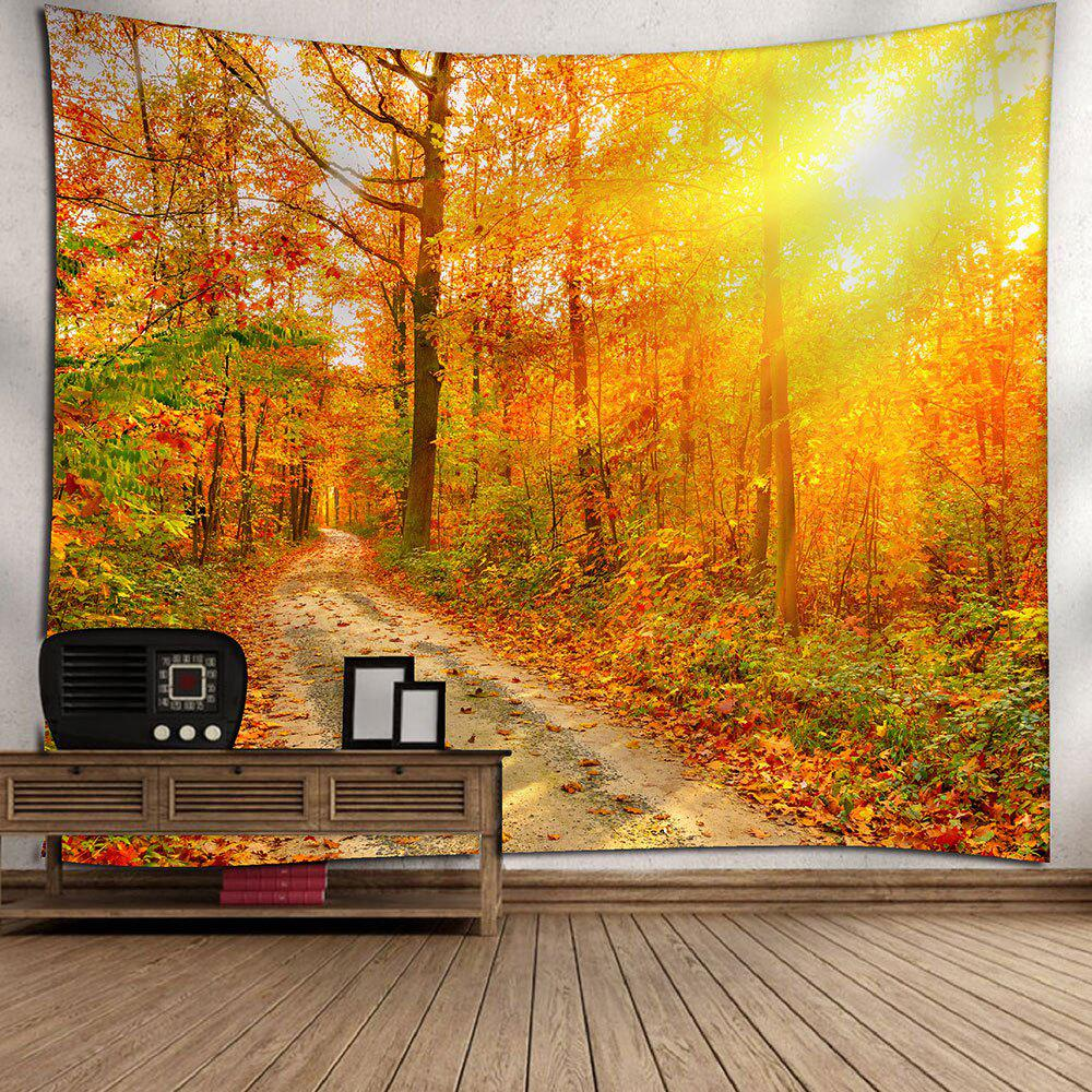 Waterproof Sunlight Maple Grove Pathway Printed Tapestry - YELLOW W79 INCH * L59 INCH