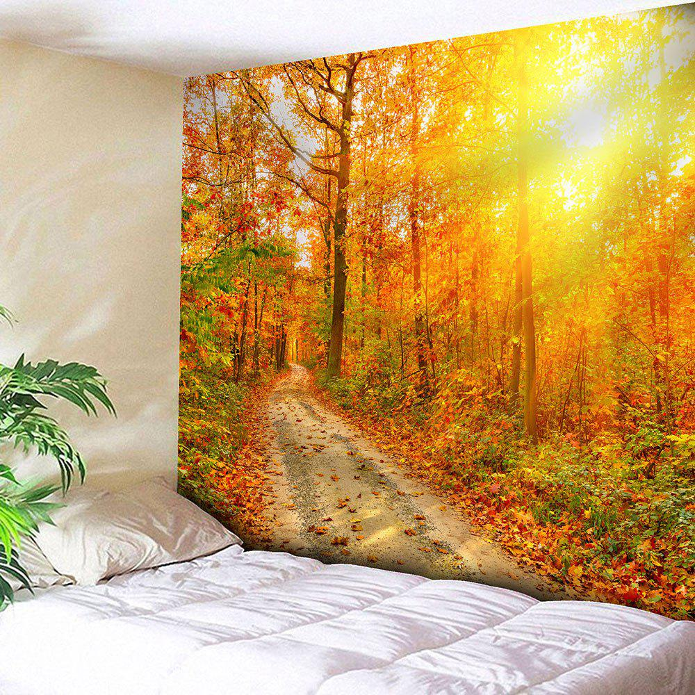 Waterproof Sunlight Maple Grove Pathway Printed Tapestry - YELLOW W59 INCH * L51 INCH