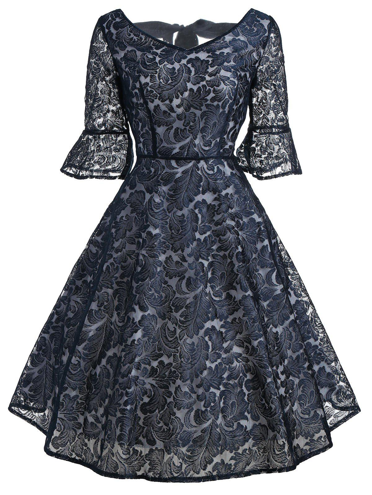 Bell Sleeve Bowknot Lace Dress - PURPLISH BLUE S