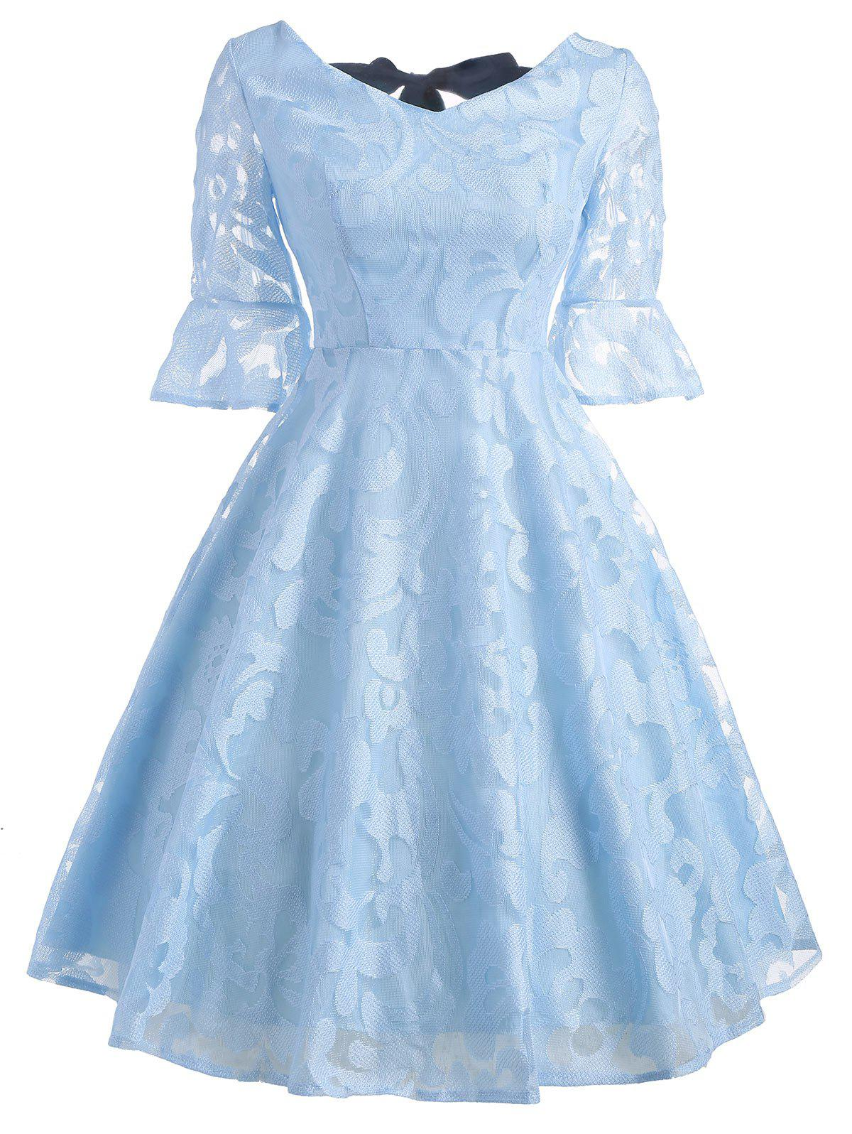 Bell Sleeve Bowknot Lace Dress - LIGHT BLUE S