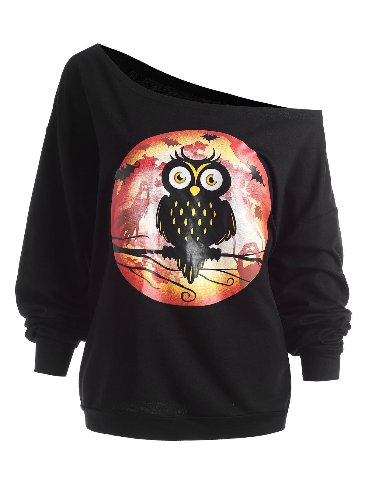 Plus Size Halloween Owl Skew Neck Sweatshirt plus size halloween bat stars skew neck sweatshirt